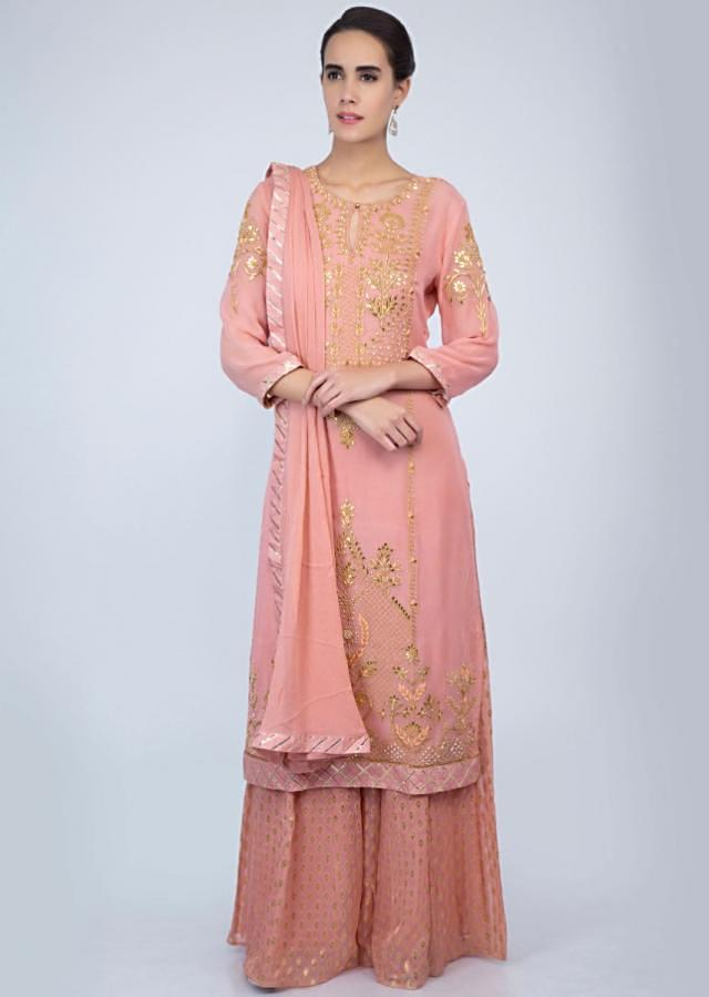 English Peach Palazzo Suit Set In Front Panel Embroidery Online - Kalki Fashion