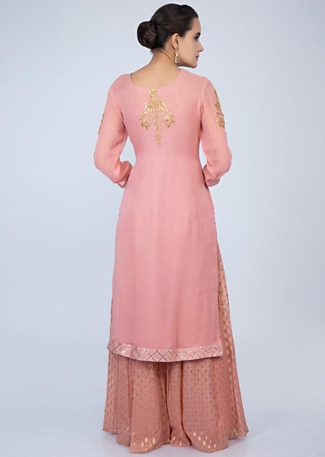 English peach palazzo suit set in front panel embroidery only on Kalki
