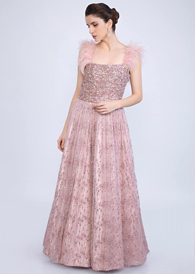 English pink feather strap gown with moti and sequins embellishment only on kalki