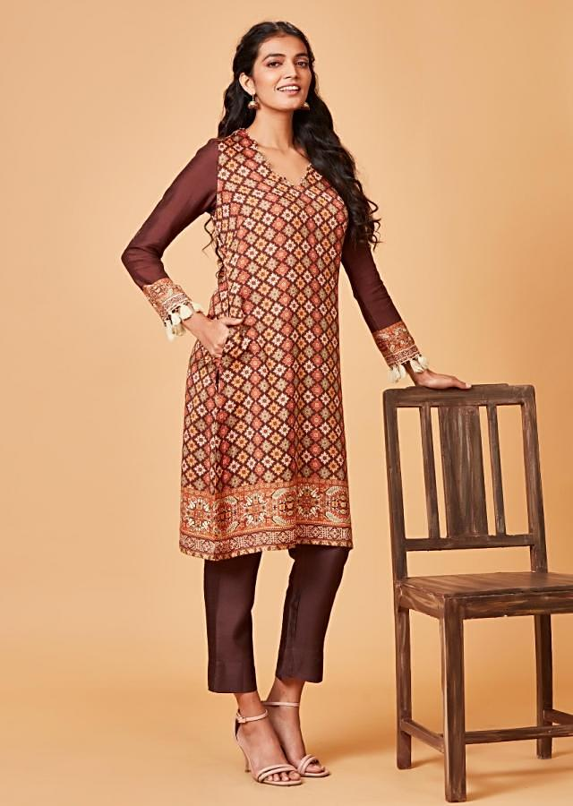 Espresso Brown Straight Cut Suit With Multi Color Printed Buttis Online - Kalki Fashion