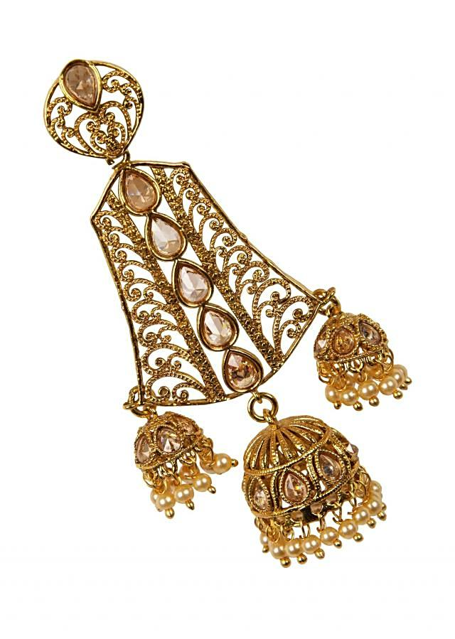 Ethnic gold plated jhumkis only on Kalki
