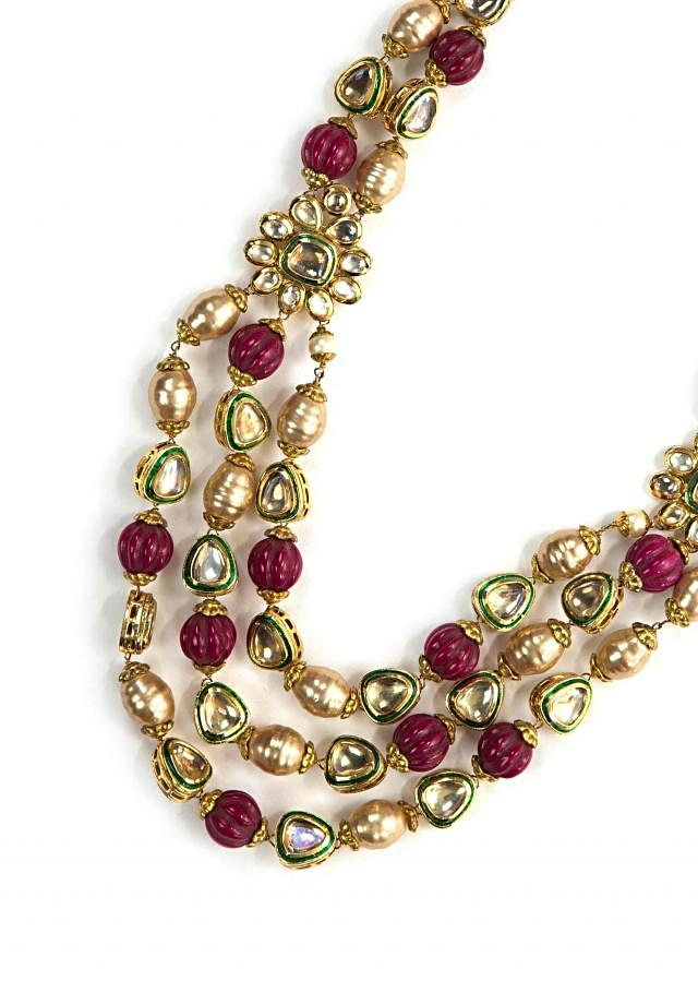 Ethnic kundan and magenta beads neckpiece only on Kalki