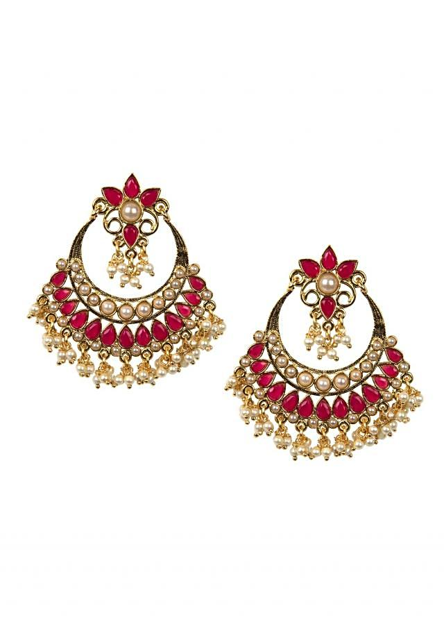 Ethnic pink and white chandbaalis only on Kalki