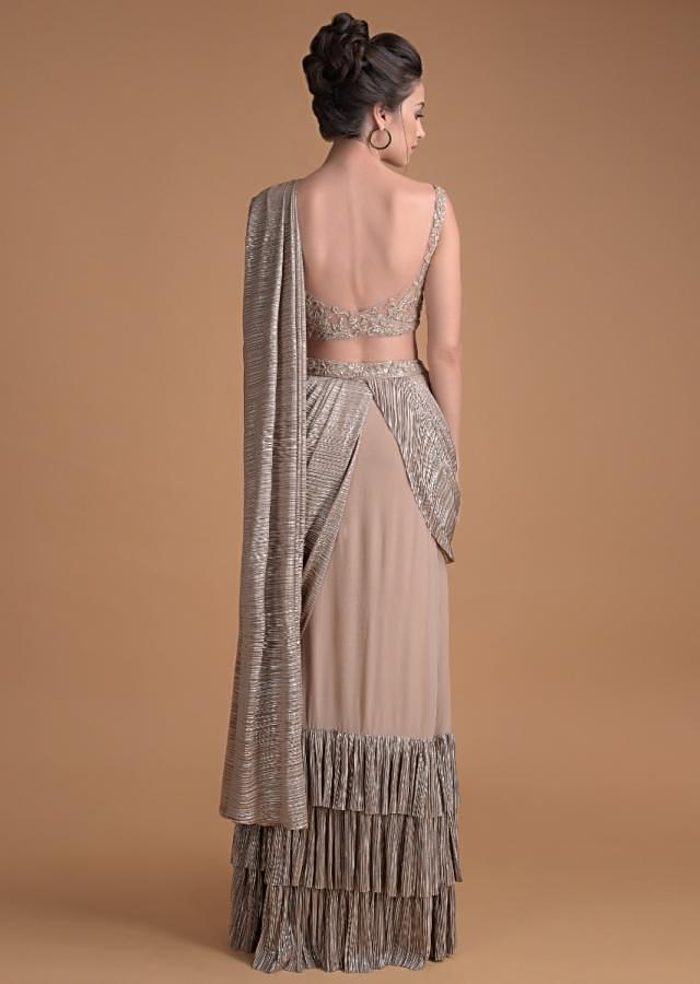 Eve Champagne Ready Stitched Saree In Crepe With Crushed Layers On The Hemline Online - Kalki Fashion
