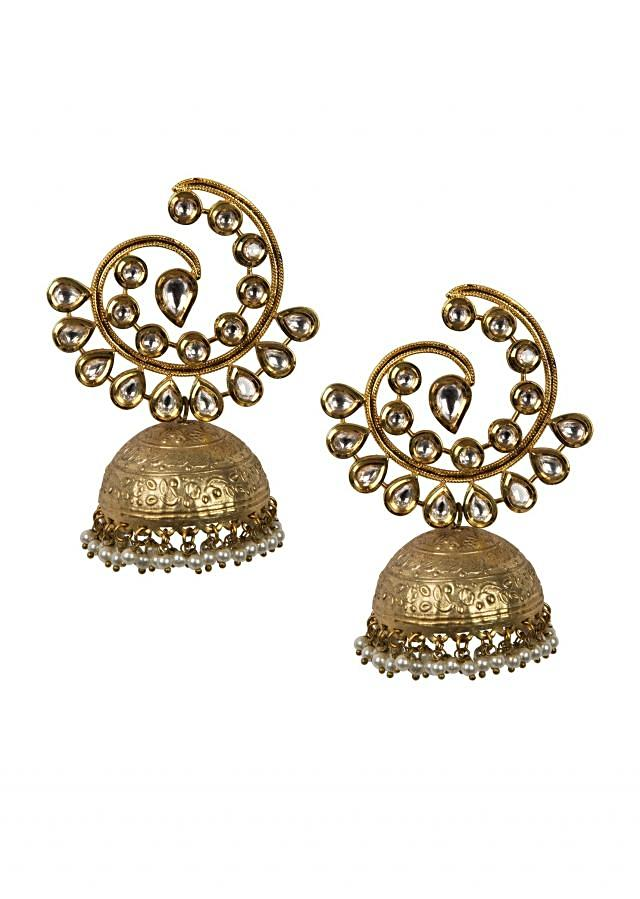 Exquisite golden jhumkis with pearl danglers only on Kalki