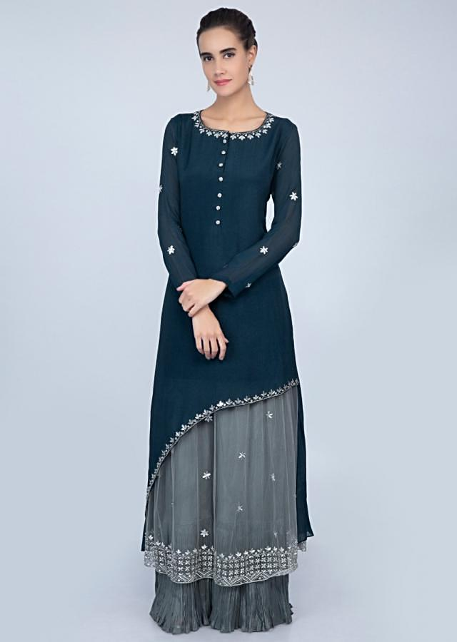 Fancy Admiral Blue Half And Half Suit With Fancy Pant And Net Dupatta Online - Kalki Fashion