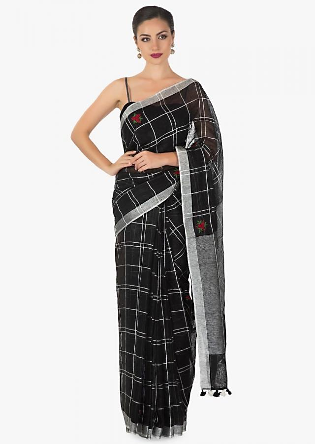 fancy checks cotton silk saree in black  only on kalki