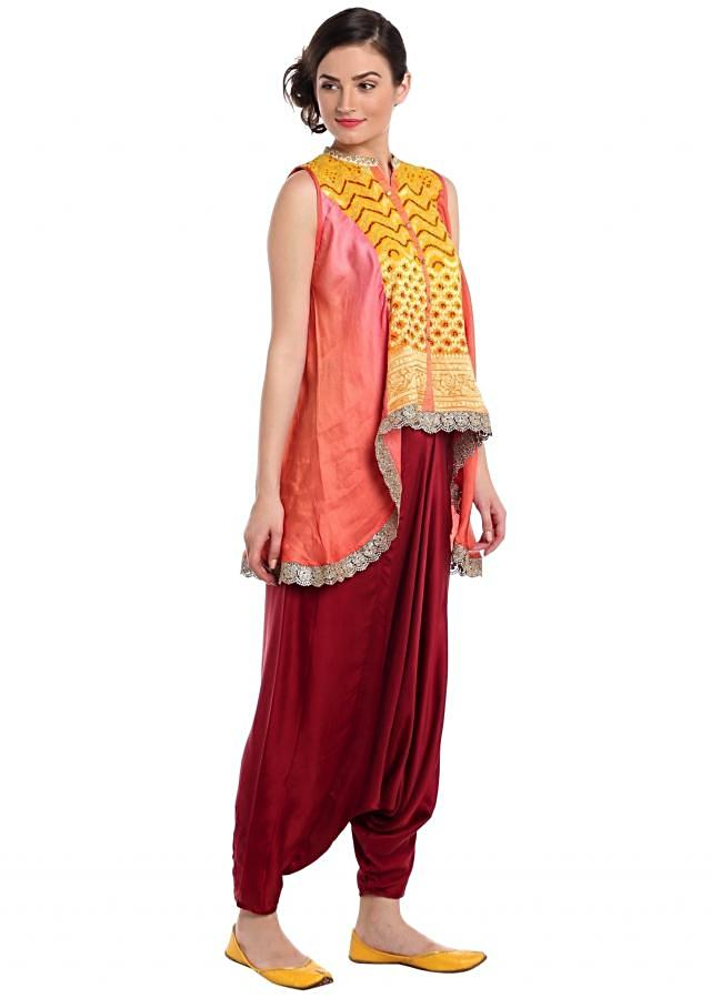 Fancy top in bandhani with aladdin pants only on Kalki