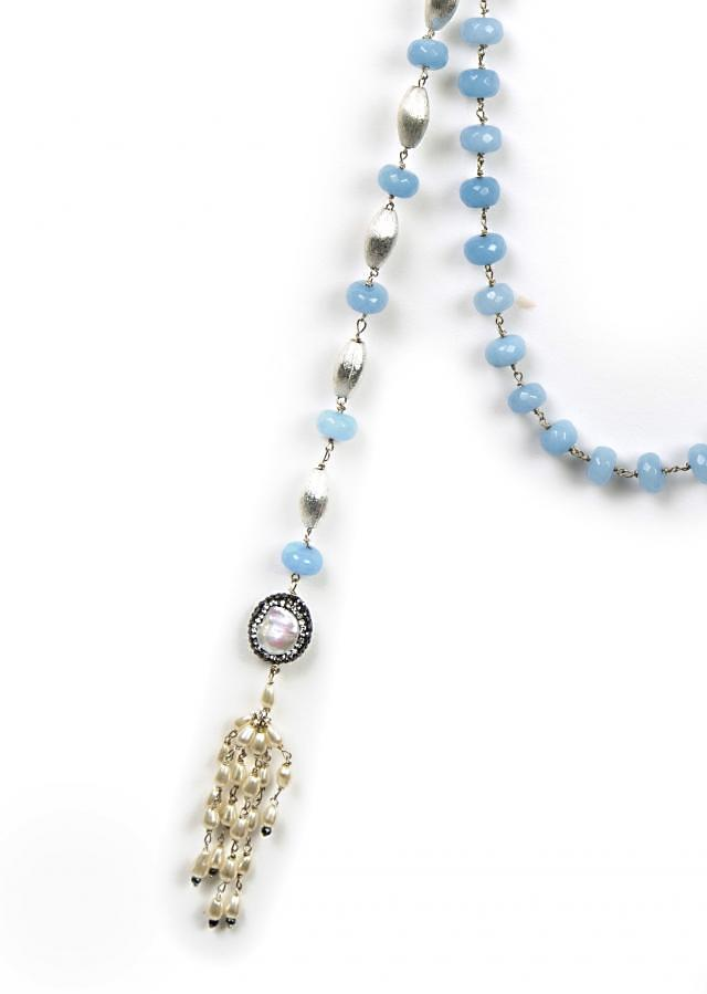 Fancy blue beaded wrap around necklace only on Kalki