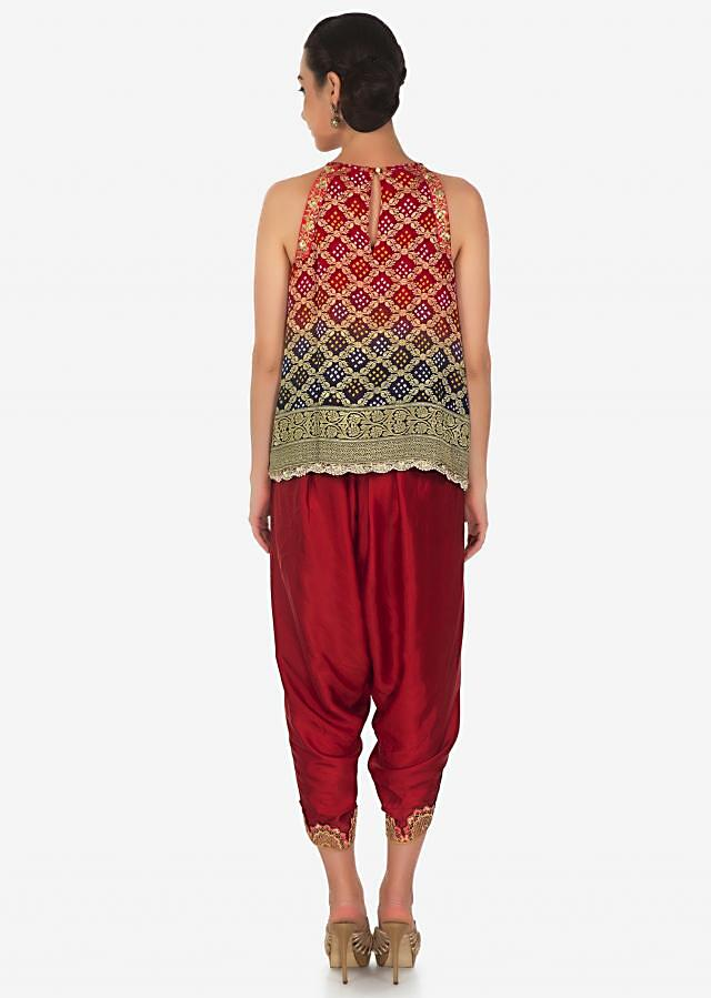 Fancy dhoti set with shaded bandhani embroidered top only on Kalki