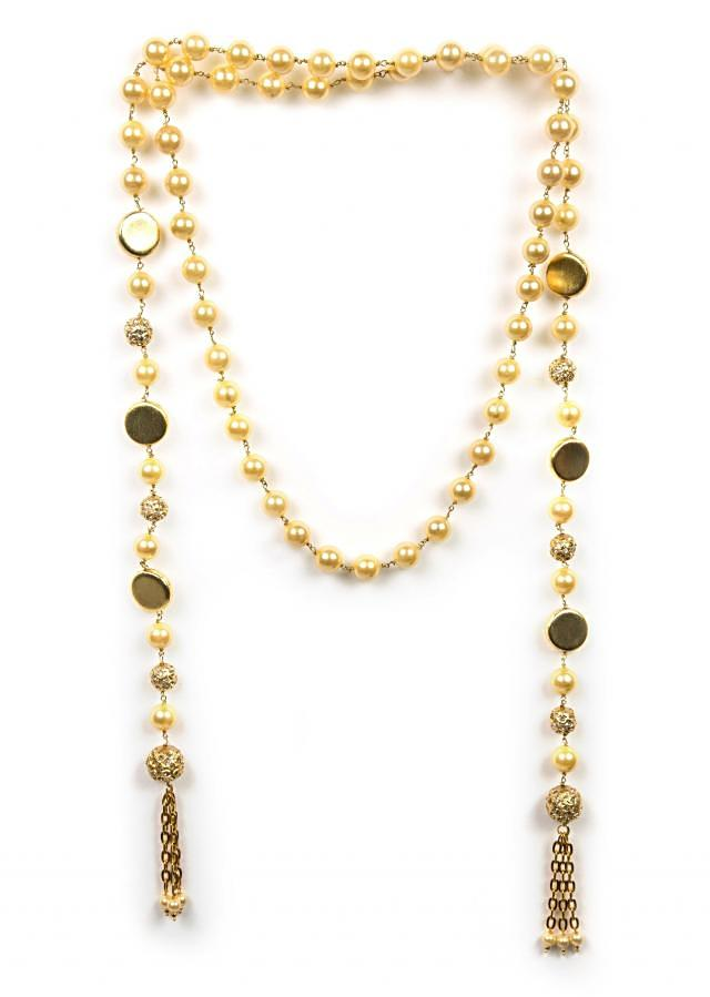 Fancy golden beaded wrap around necklace only on Kalki