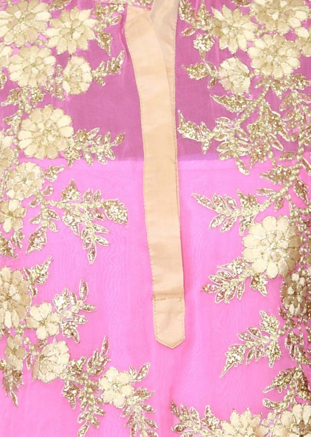 Featuring a baby pink georgette straight cut semi stitched salwar kameez embellished in resham embroidery only on Kalki