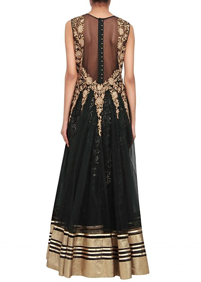 Featuring a black net anarkali embellished in gold zari and kundan work only on Kalki
