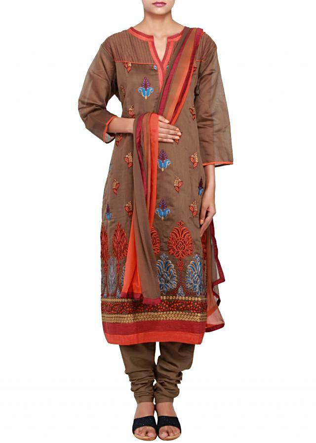 Featuring a brown cotton straight-fit suit embellished in resham only on Kalki