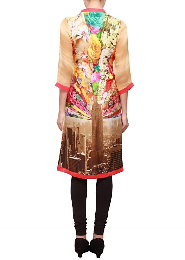 Featuring a crepe multi color printed kurti only on kalki