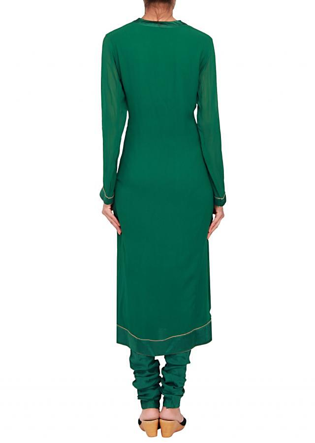 Featuring a emerald green georgette straight cut suit embellished in zari only on Kalki