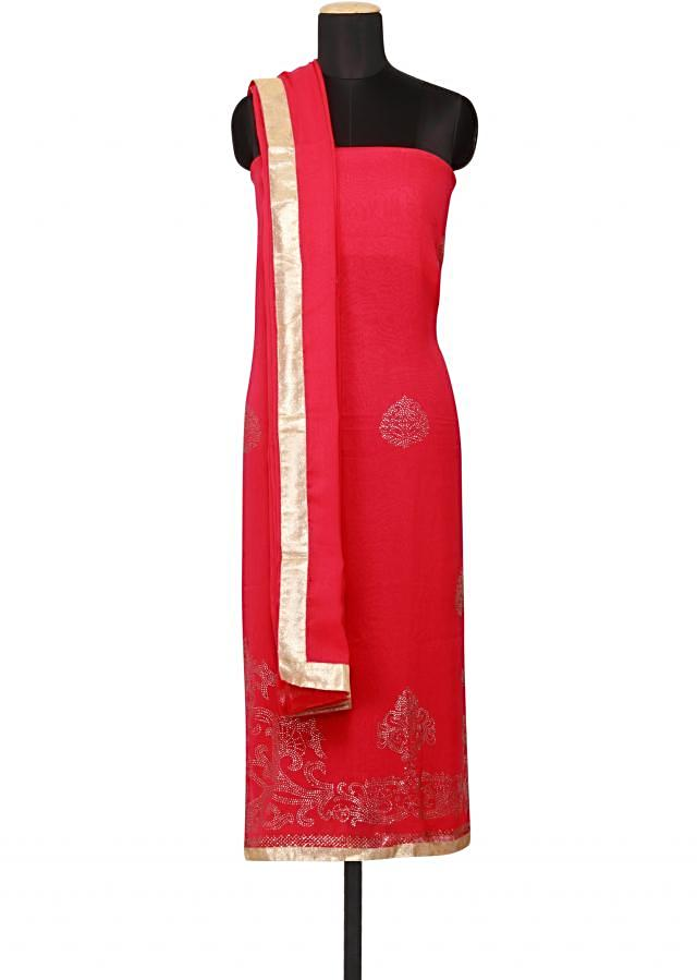 Featuring a fushia georgette unstitched salwar kameez embellished in kundan only on Kalki
