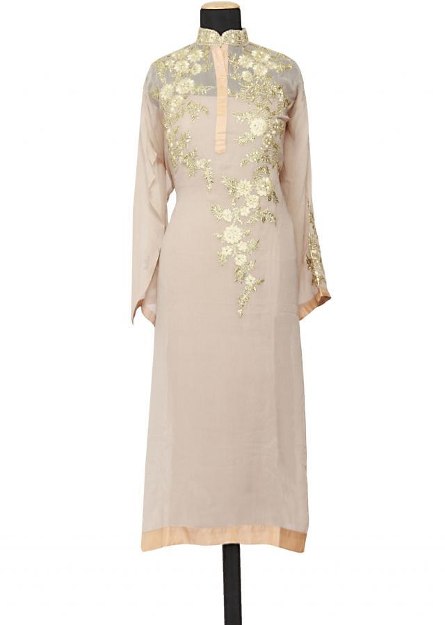 Featuring a light grey georgette straight fit semi stitched salwar kameez embellished in zari and resham only on Kalki