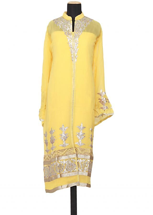 Featuring a maize yellow georgette straight fit semi stitched salwar kameez embellished in gotta patti only on Kalki