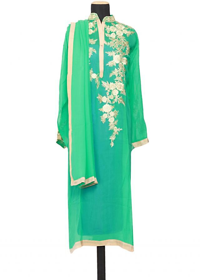 Featuring a mint georgette straight cut semi stitched salwar kameez embellished in resham embroidery only on Kalki
