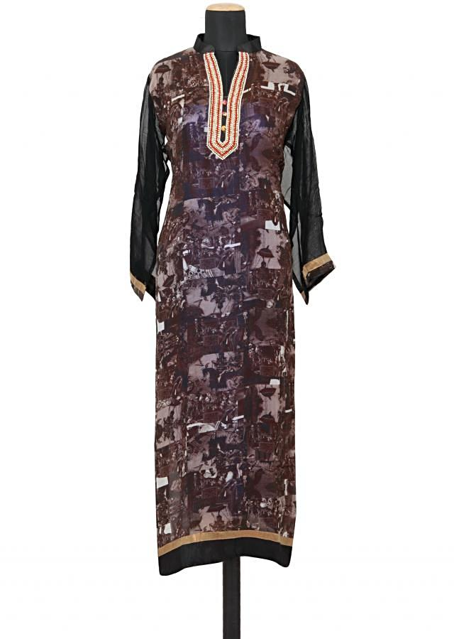 Featuring a multi coloured printed straight fit semi stitched salwar kameez embellished in pearl and stone only on Kalki