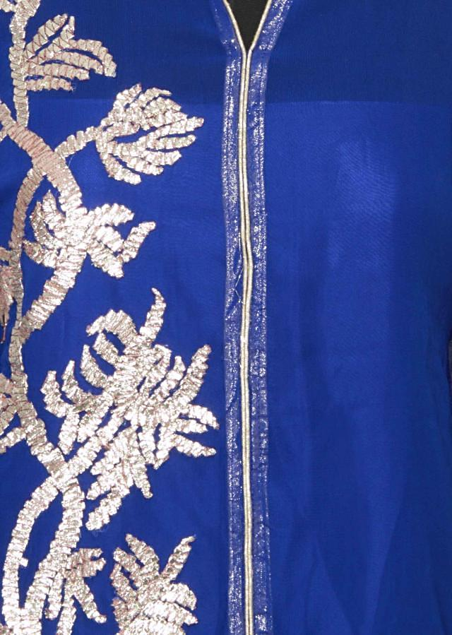 Featuring a navy blue georgette straight fit semi stitched salwar kameez embellished in gotta patti only on Kalki