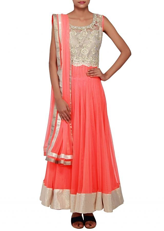 Peach straight fit suit embellished in print and gotta patti lace