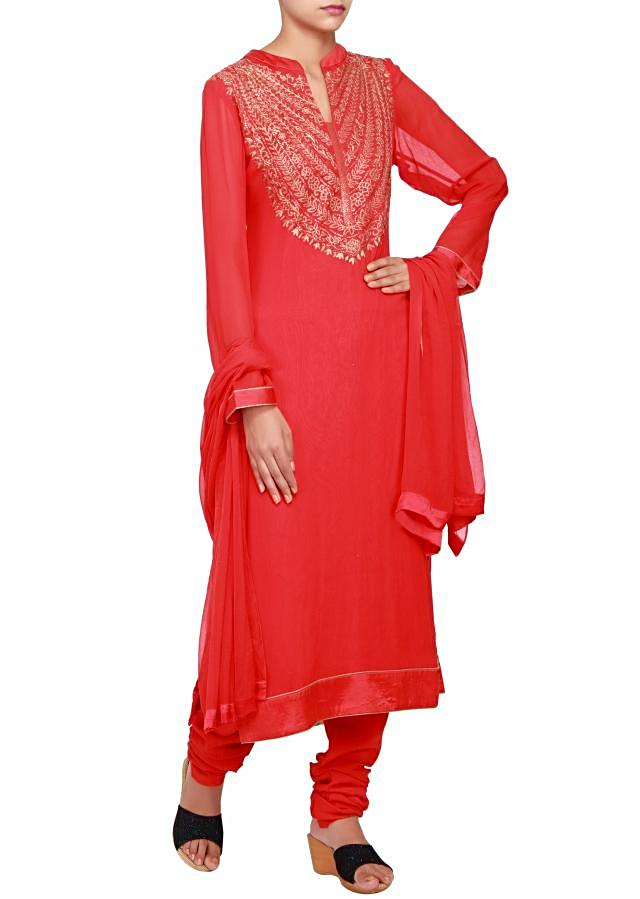 Featuring a red georgette straight cut suit embellished in zari only on Kalki
