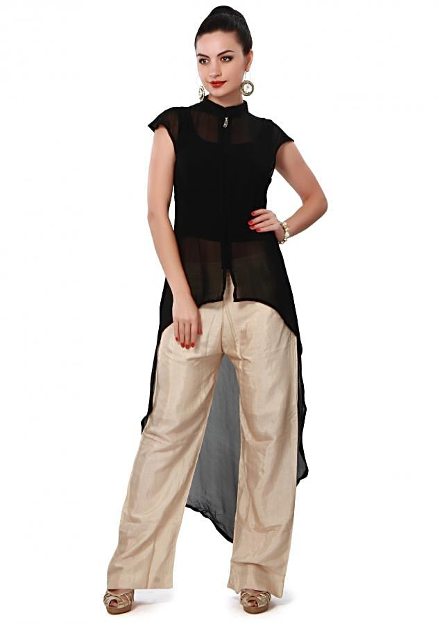 Featuring black kurti with front short and back long only on Kalki