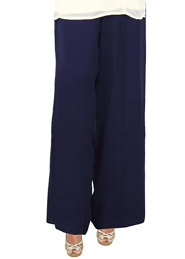 Featuring blue palazzo pant in georgette only on Kalki