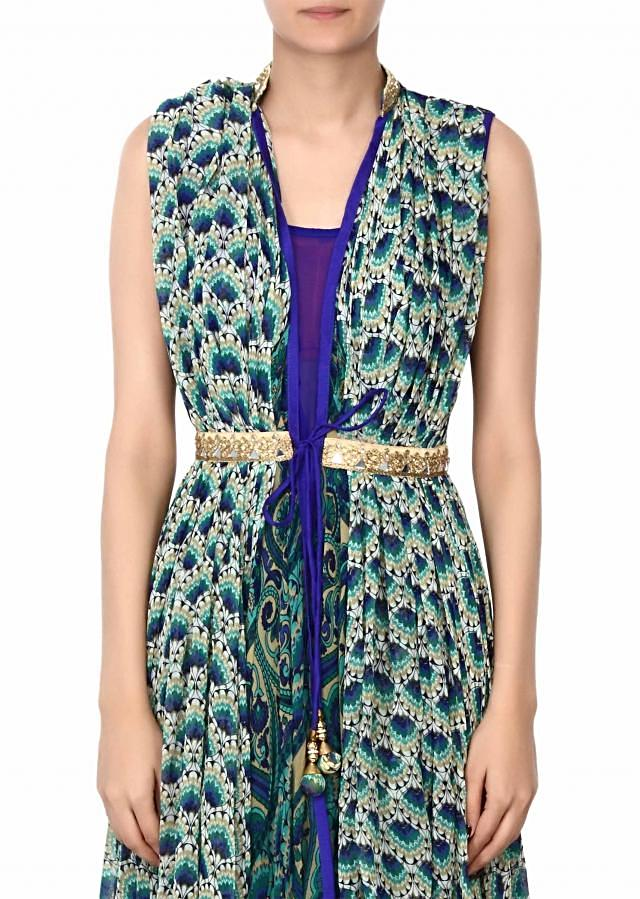 Featuring blue printed jacket in mirror and kundan work only on Kalki
