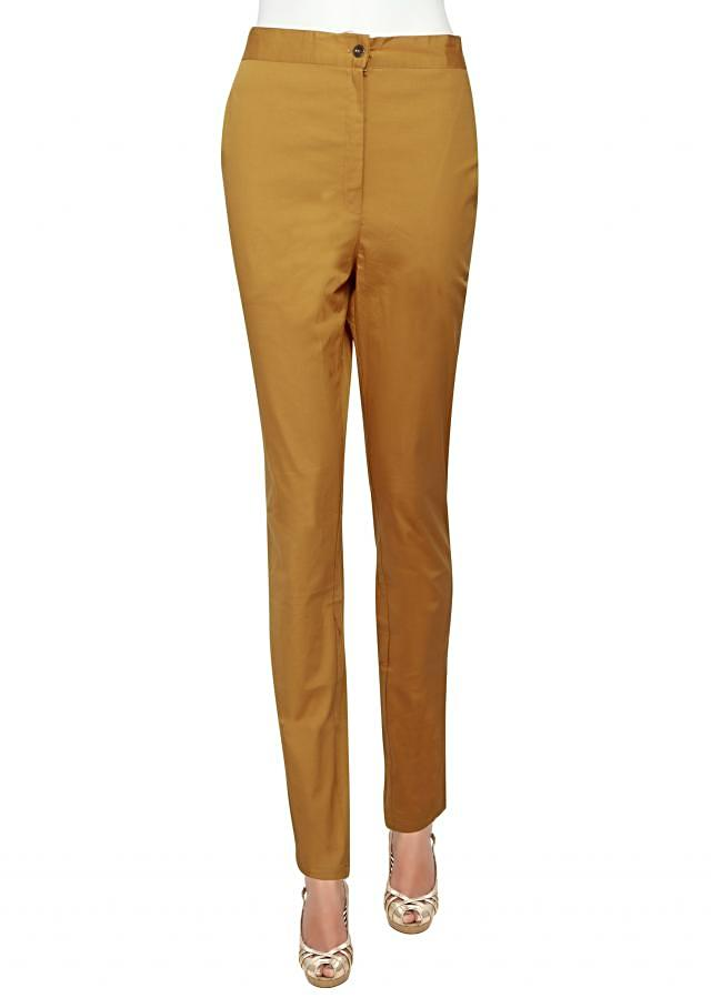 Featuring cigarette pants in mustard only on Kalki