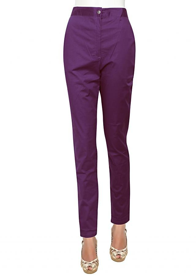 Featuring cigarette pants in purple only on Kalki