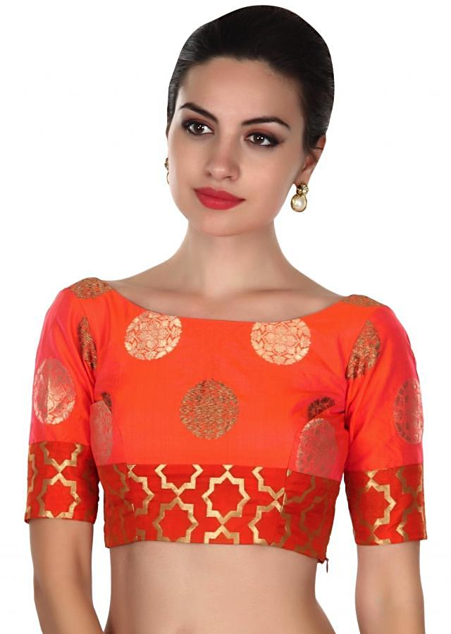 Featuring coral and rust blouse in brocade silk only on Kalki