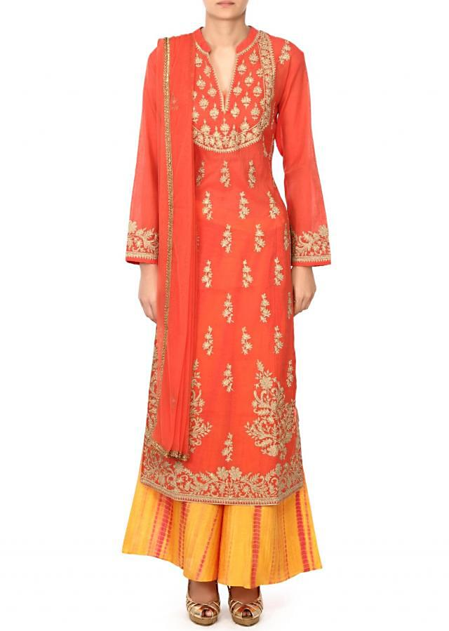 Featuring coral suit in zari embroidery only on Kalki