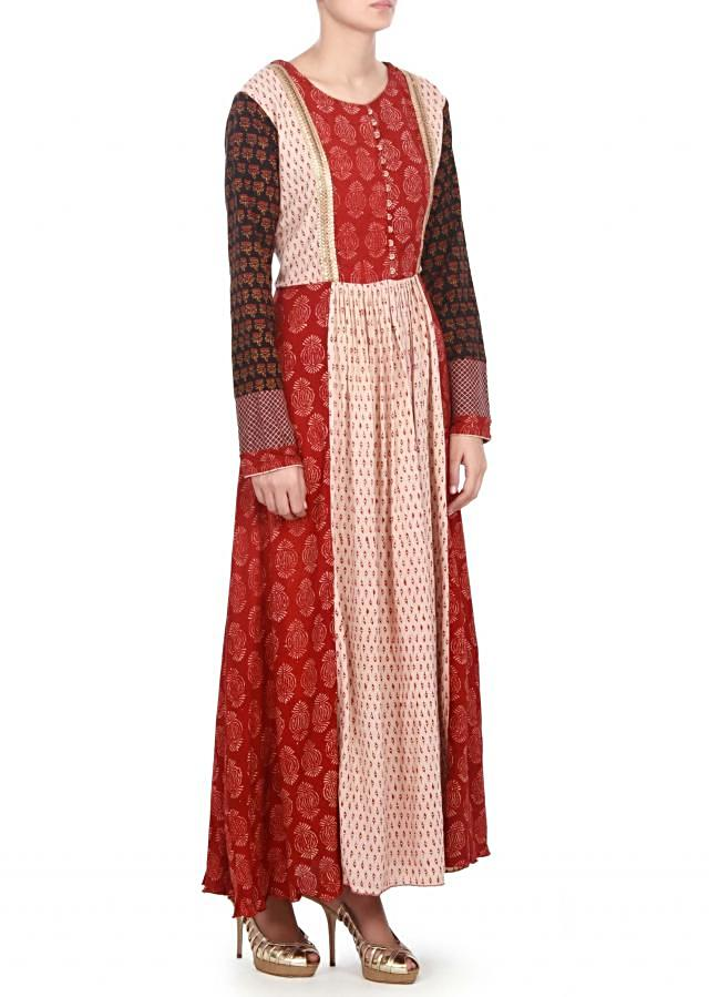 featuring cream and red printed dress only on kalki