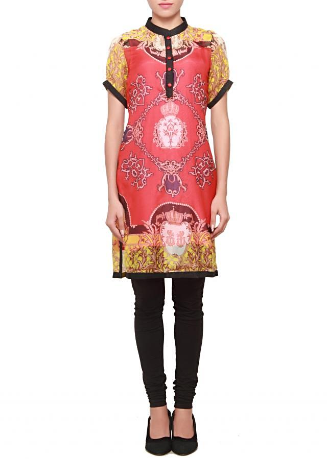 Featuring crepe multi coloured kurti only on kalki