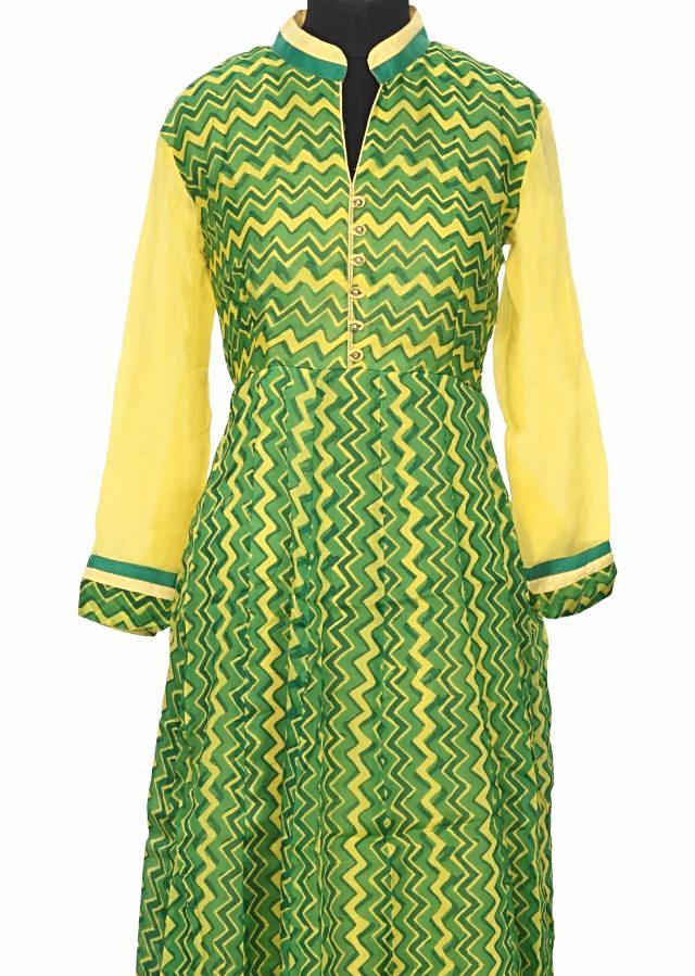 Featuring green and yellow printed kurti only on Kalki