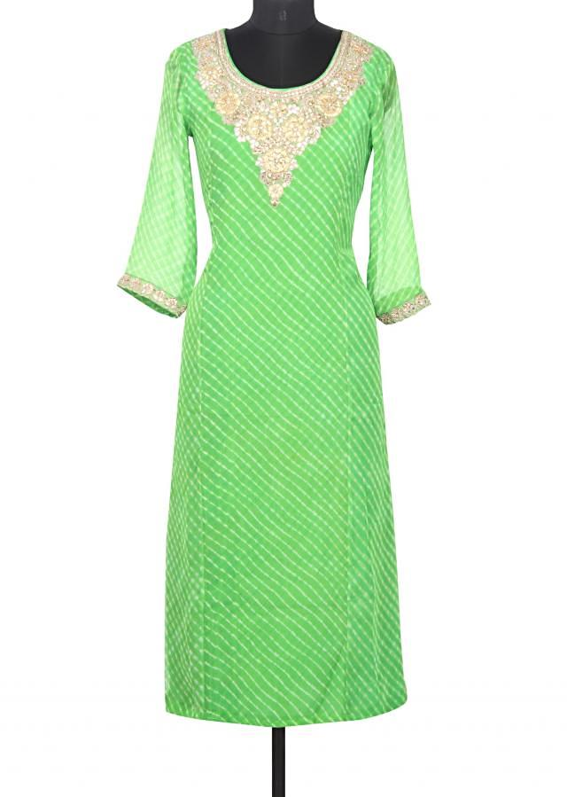 Featuring green kurti with gotta neckline only on Kalki