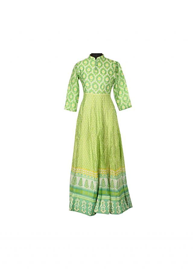Featuring green printed dress only on Kalki