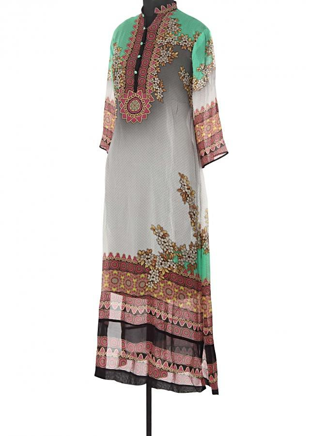 Featuring grey and green digital printed kurti only on Kalki