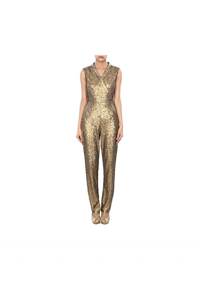 Featuring jumpsuit in gold sequin only on Kalki