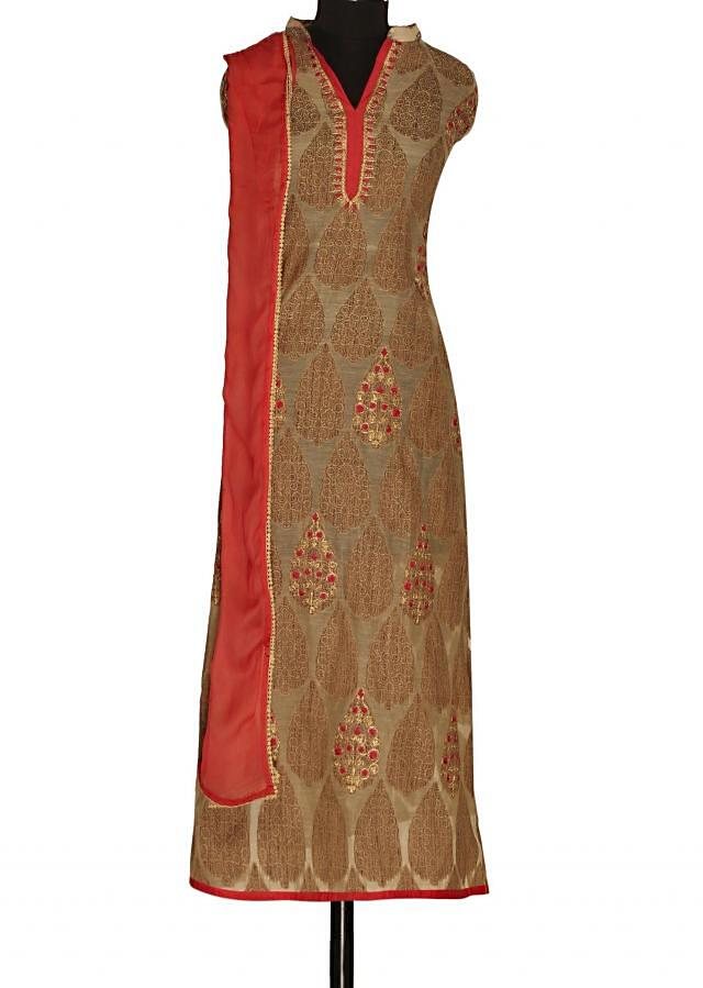 Featuring light brown semi stitched suit only on Kalki