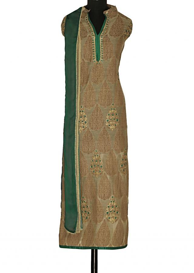 Featuring light brown semi stitched suit with shaded dupatta only on Kalki
