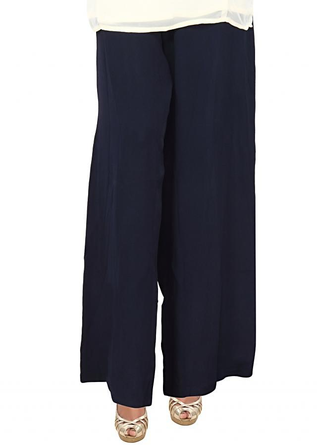 Featuring Navy blue palazzo pant in georgette only on Kalki