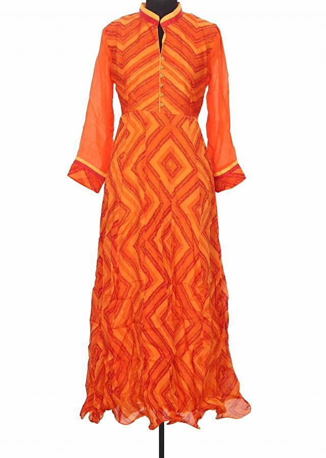 Featuring orange and red printed kurti only on Kalki
