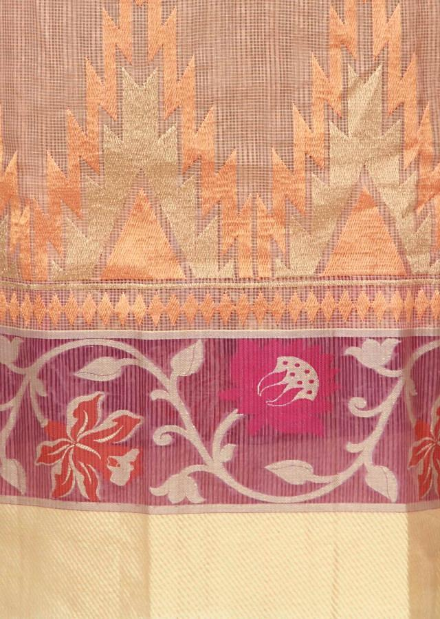 Featuring peach chanderi silk unstitched suit only on Kalki