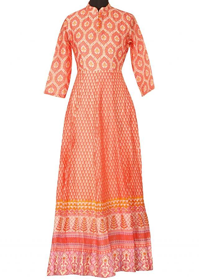 Featuring peach printed dress only on Kalki