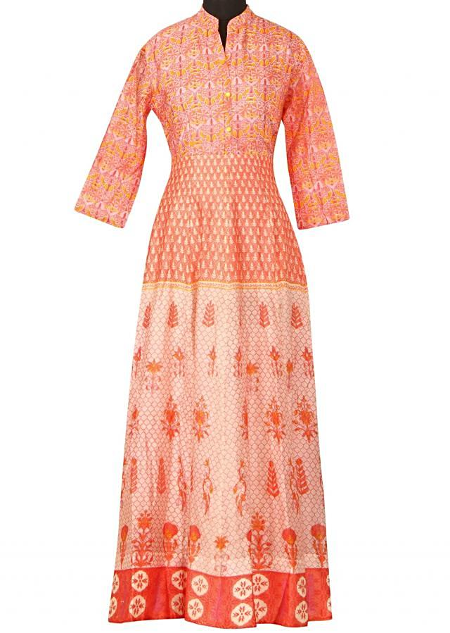 Featuring cream and peach printed dress only on Kalki
