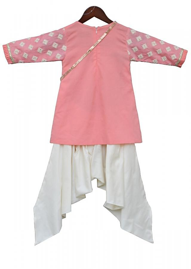 Peach Kurti With Thread Embroidery Teamed With Dhoti Pants Online - Kalki Fashion